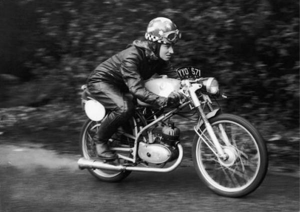 Beryl Swain on her vintage motorcycle in 1962