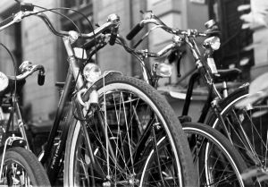 bicycles parked and locked