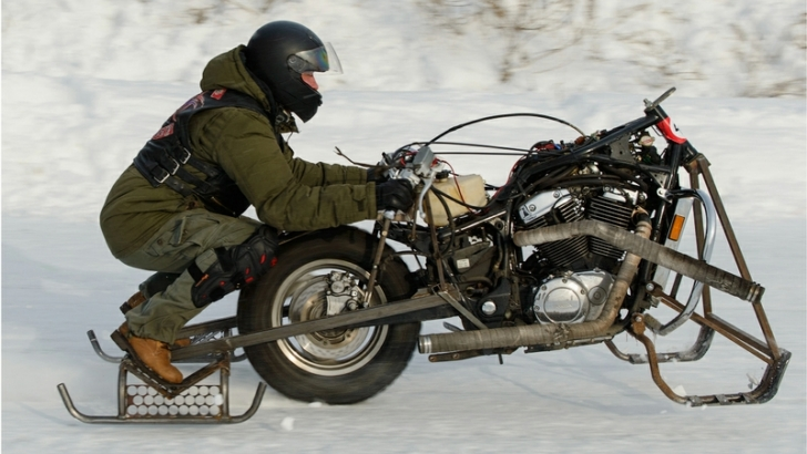 Canadian motorcycle rider on ice