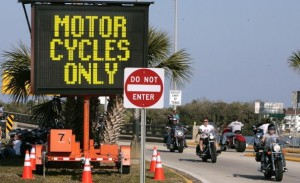 Motorcycle only road sign