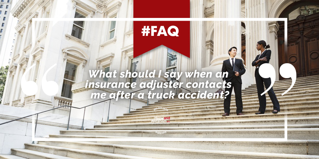 Trucking accident insurance adjusters standing on steps