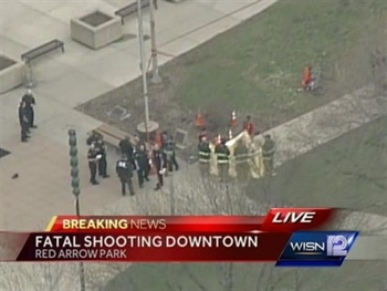 Aerial view of fatal shooting at Red Arrow Park