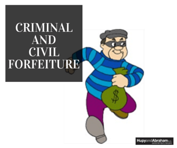 forfeiture cartoon with character holding bag of cash