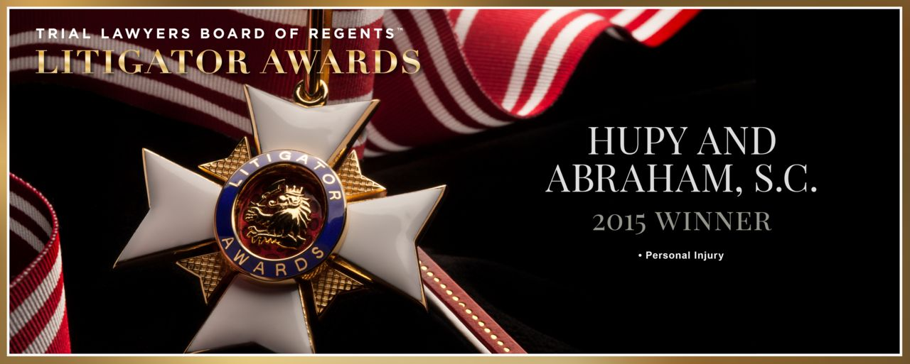 Banner of Litigator Awards and Hupy And Abraham being named winners