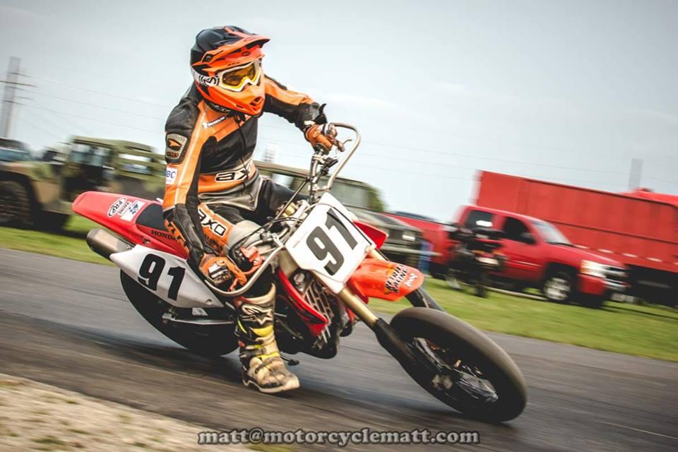 Motorcycle racing around corner