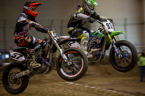 Parker and Brady Lange racing motorcycles on dirt track