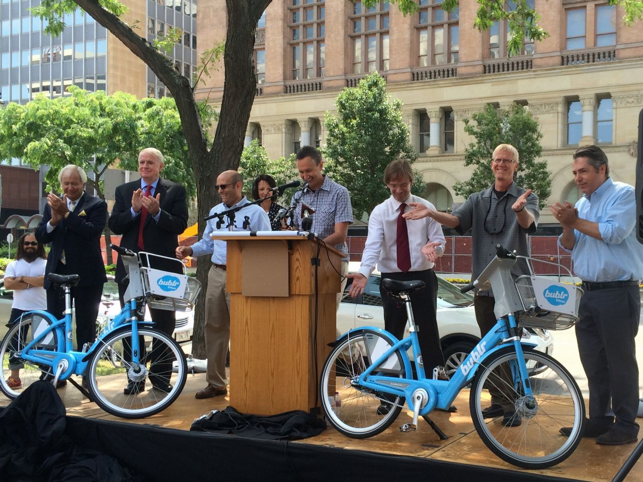 Public launch of Bublr Bikes in Milwaukee