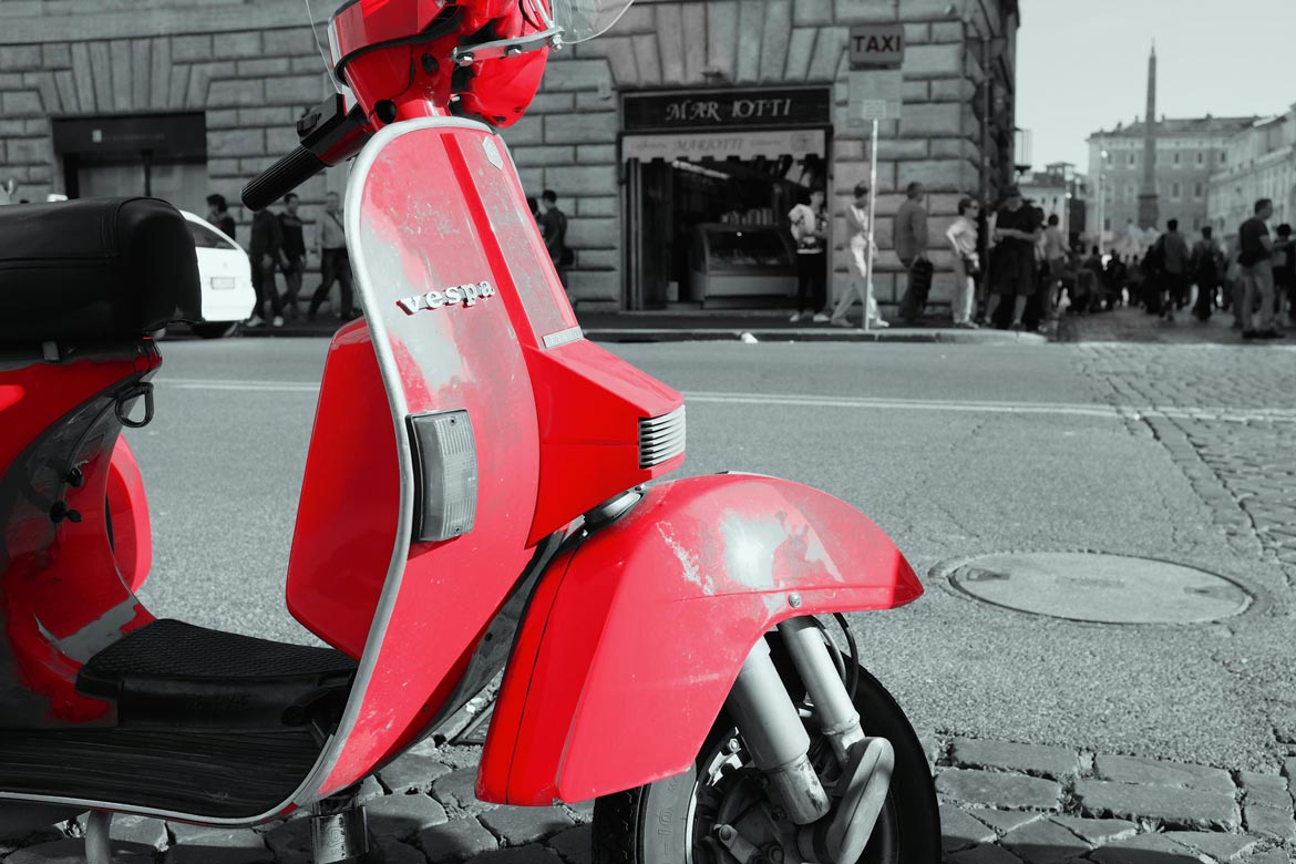 Red Vespa scooter