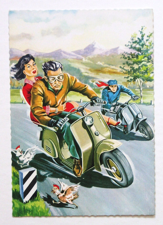 Painting of a man and woman riding on scooter