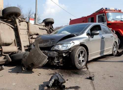 A scene of a possible wrongful death auto accident.