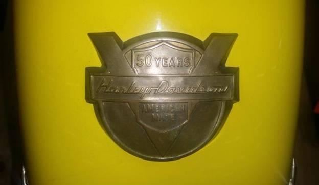 50 Years Harley Davidson metal emblem