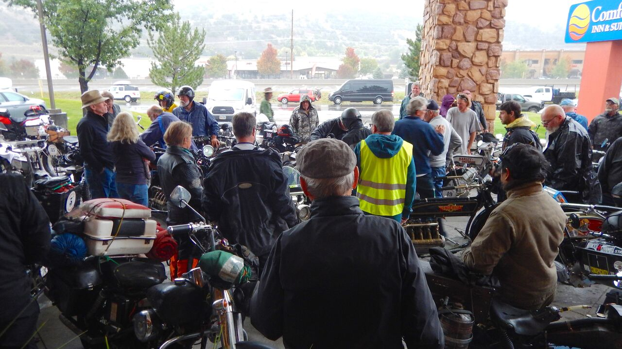 Bikers huddled up at Comfort Suites
