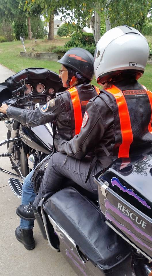 Motorcycle with two riders at V.I.P.E.R. ride