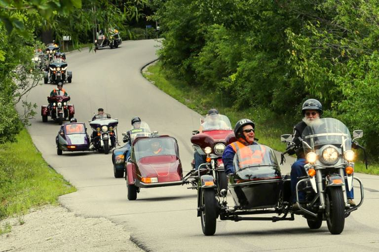 Long line of motorcycles at V.I.P.E.R. ride