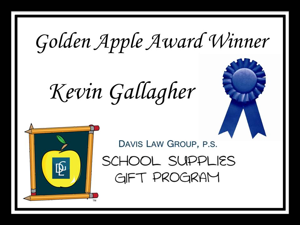 Teacher award winner Kevin Gallagher
