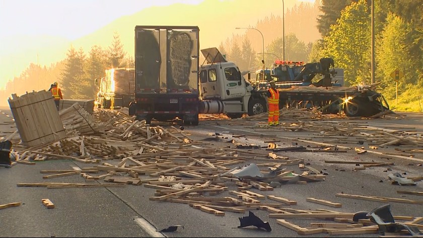 semi-truck lumber spill