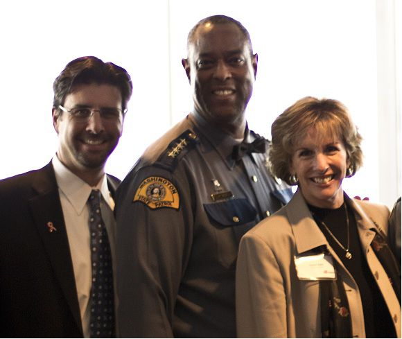 Attorney chris davis with WSP chief and King County Sheriff
