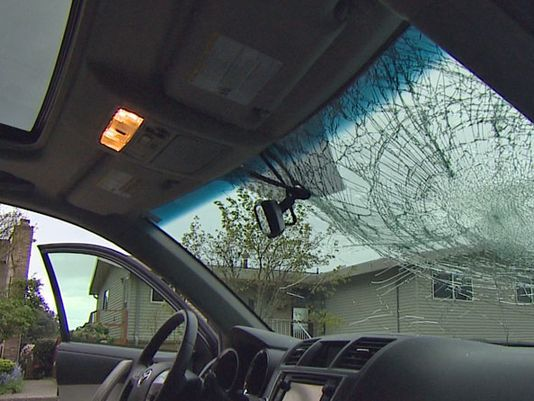 Windshield damaged by loose cargo