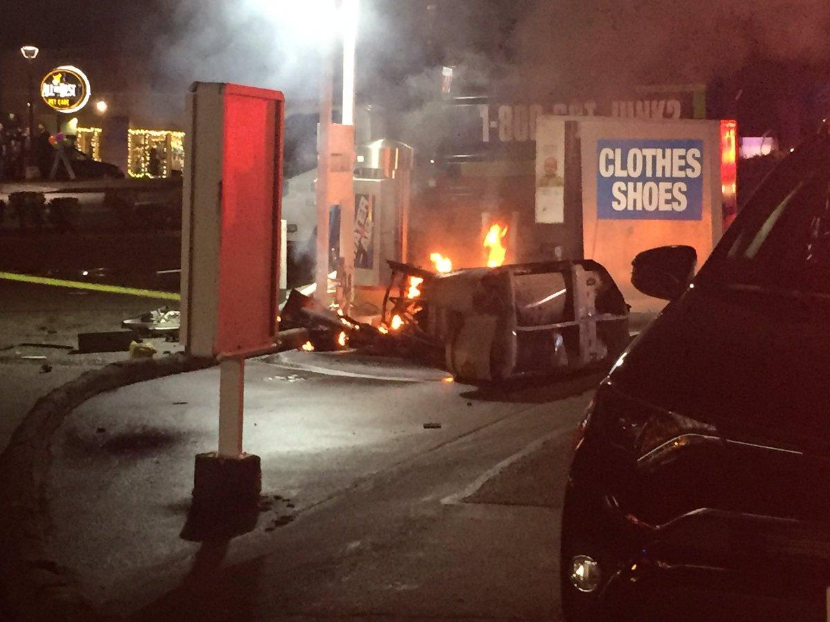 SUV gas station crash