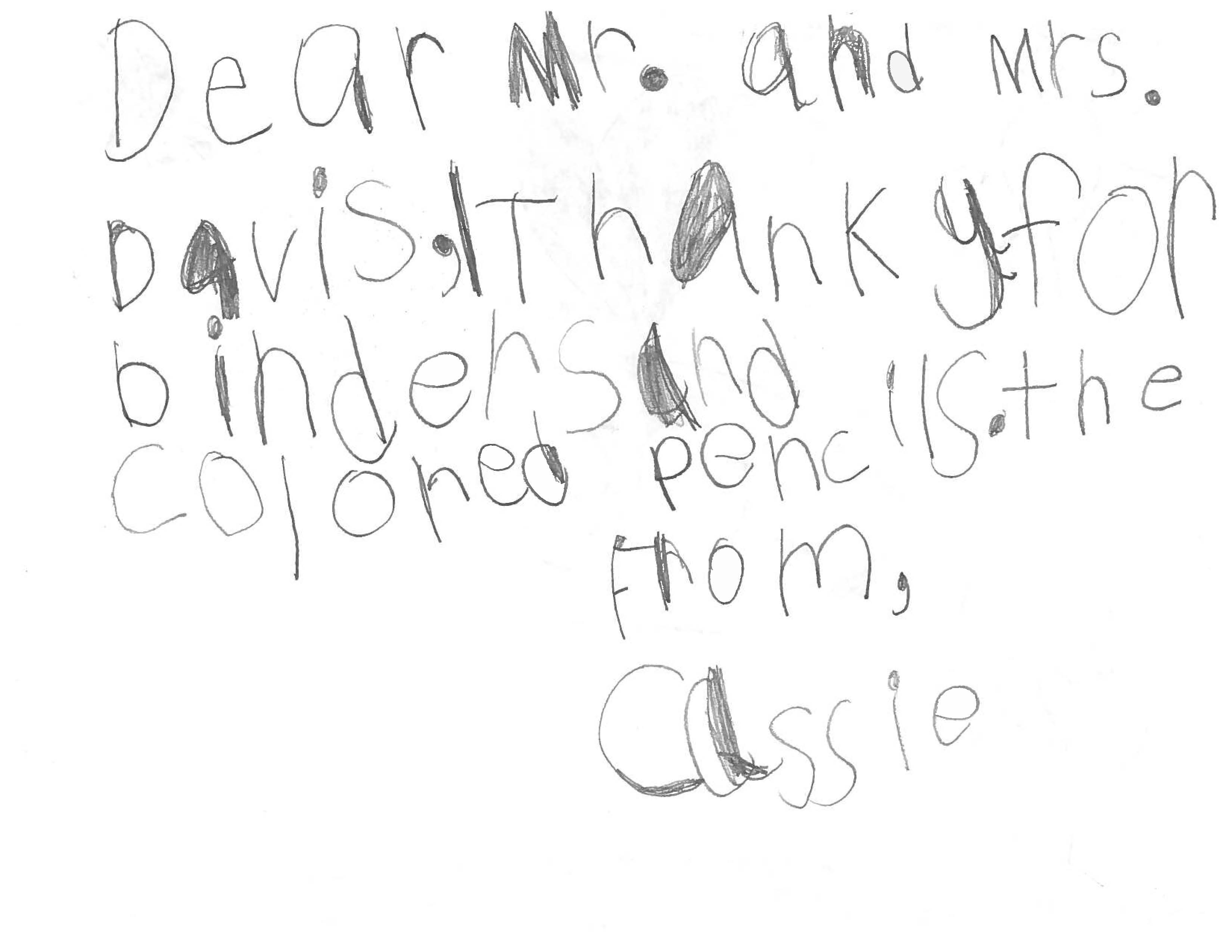 Student thank you picture