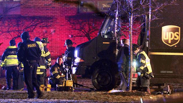 UPS truck hits pedestrian