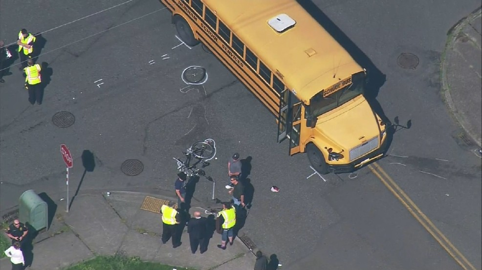 bike and schoolbus crash in everett
