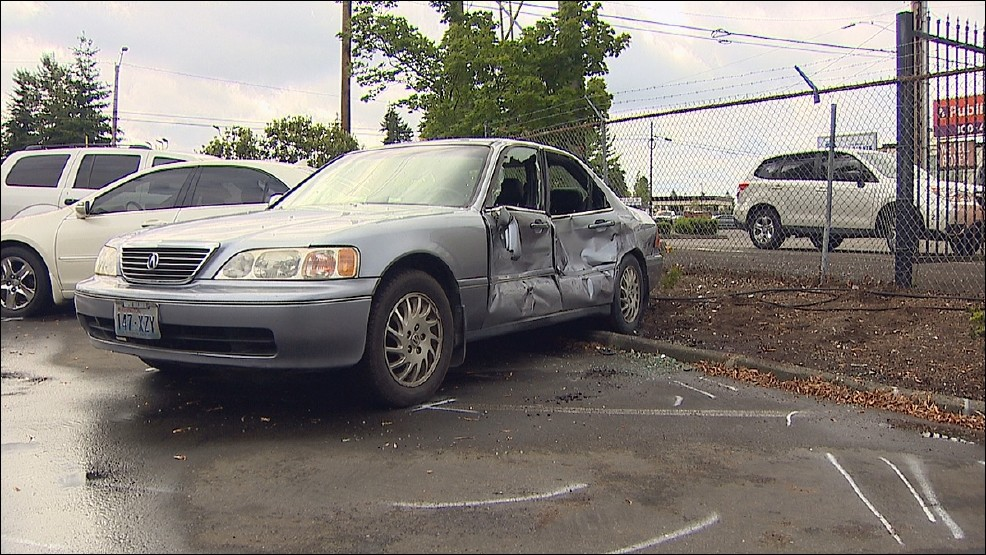 car damaged by pickup truck