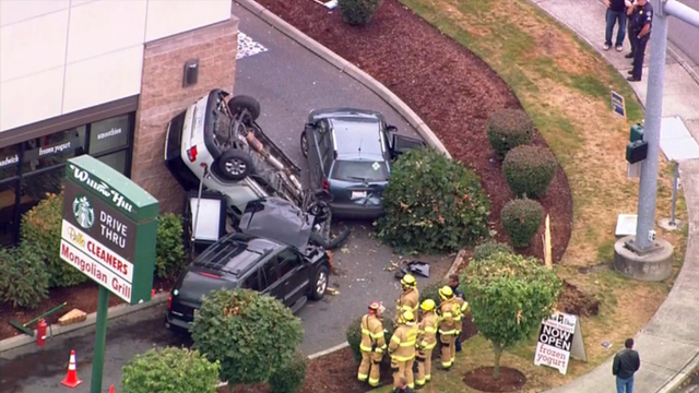 car crash in drive-thru