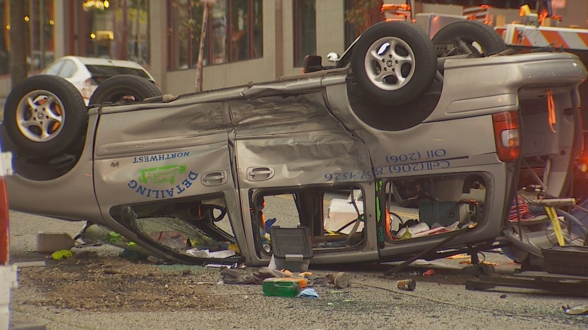 seattle rollover car crash