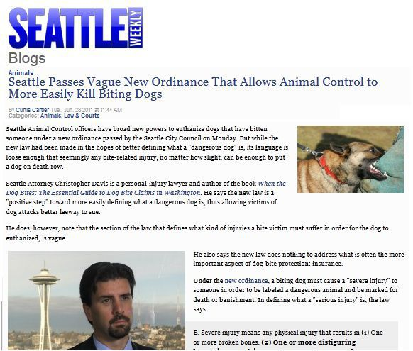 seattle dog bite law ordinance law