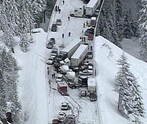 snow storm serious accident snoqualmie pass
