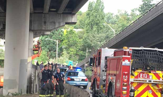 emergency responders under west seattle bridge