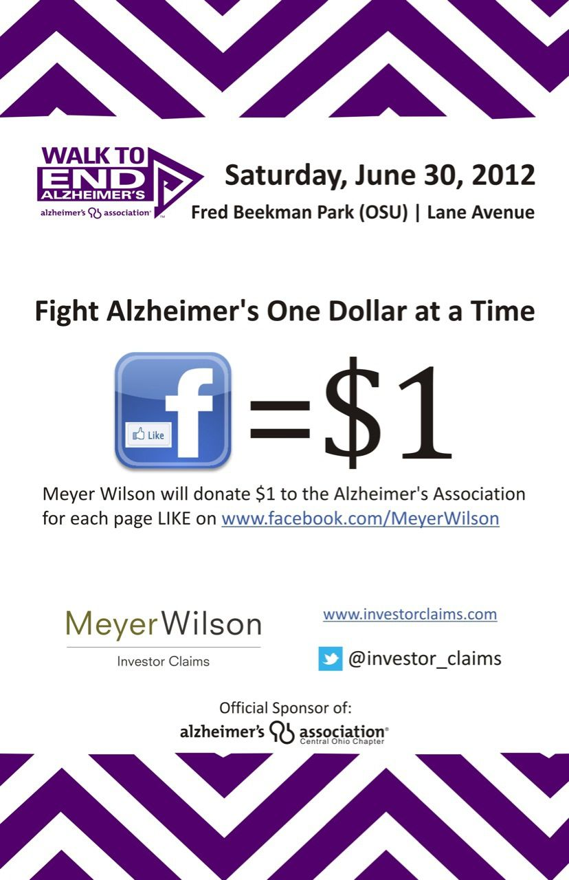 Investment Fraud Attorneys at Meyer Wilson LPA Donate to Alzheimer's Association