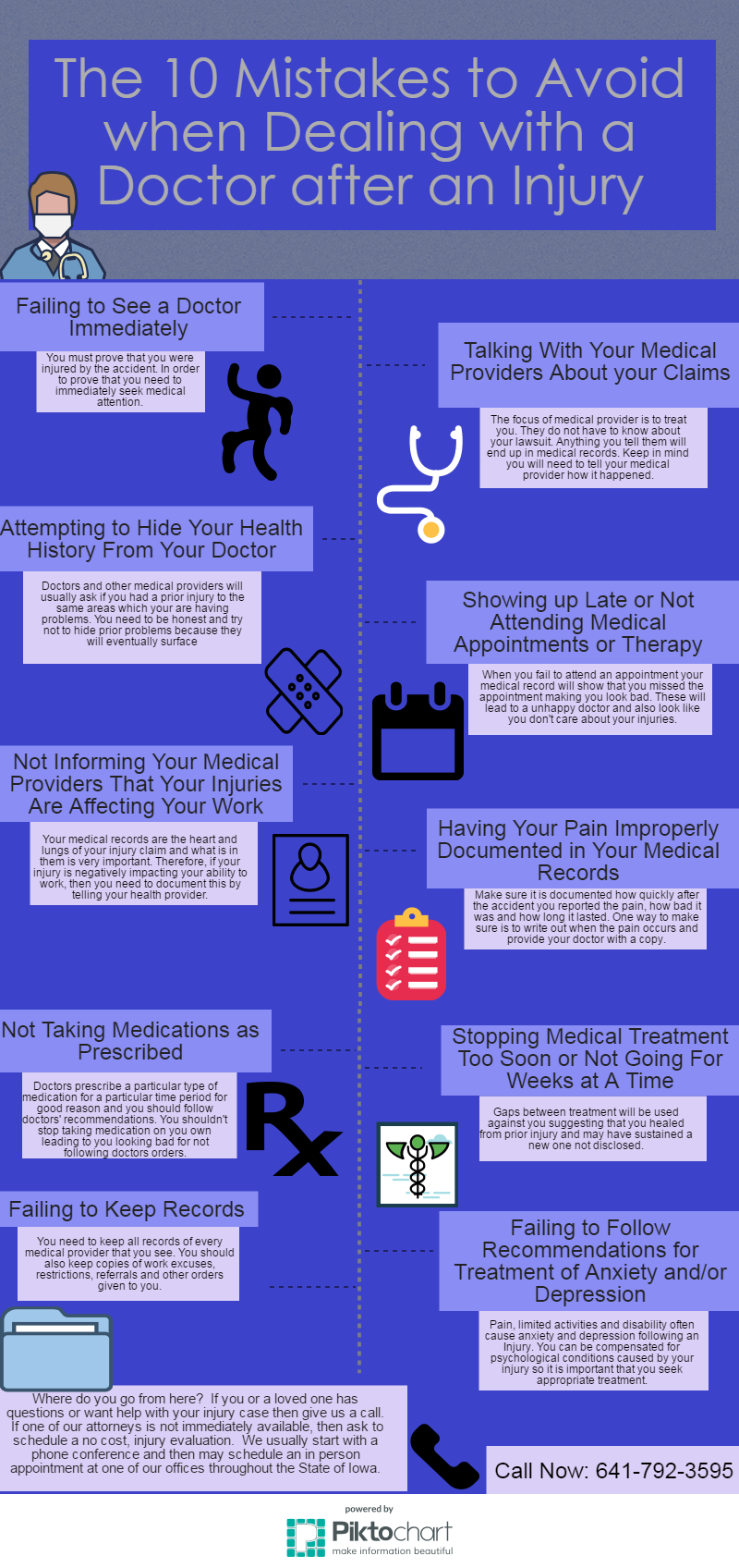 ten mistakes to avoid when dealing with a doctor after personal injury infographic