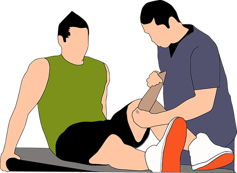 Illustration of someone wrapping the left knee of an injured worker