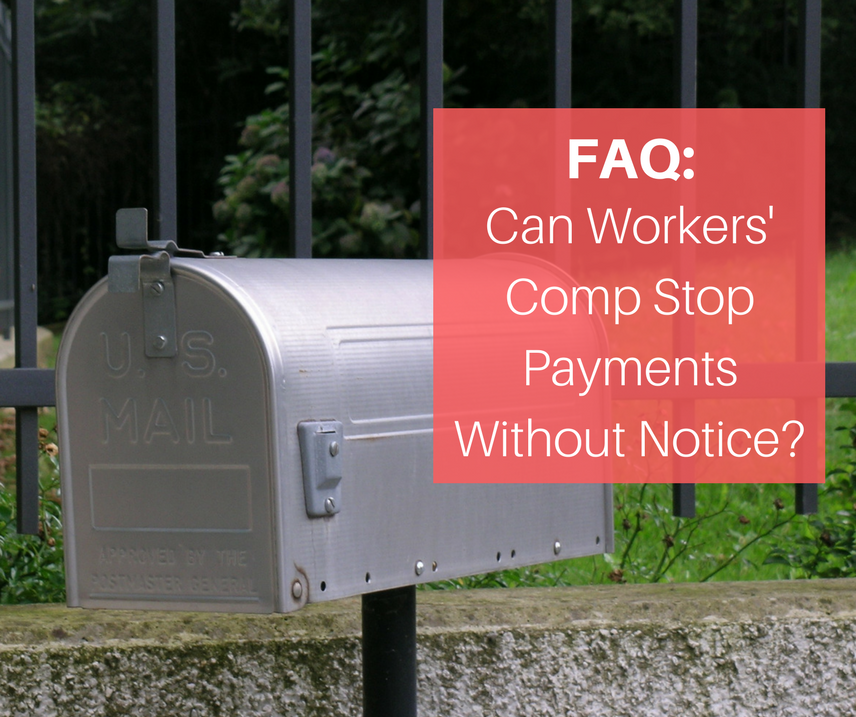 Metal mail box with Faq in red in front of it about workers compensation payments