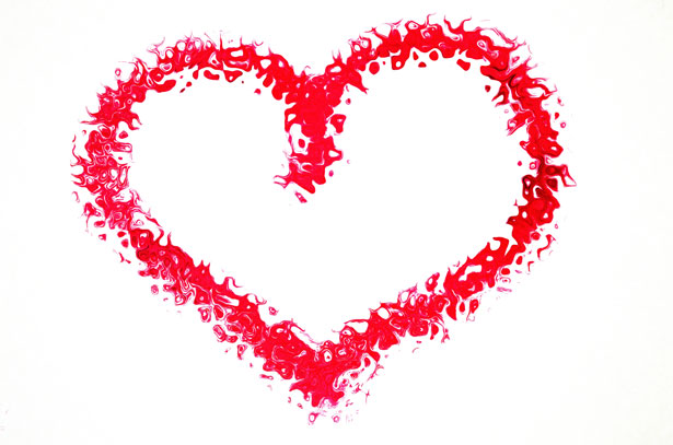 Red Valentines Heart made of petals