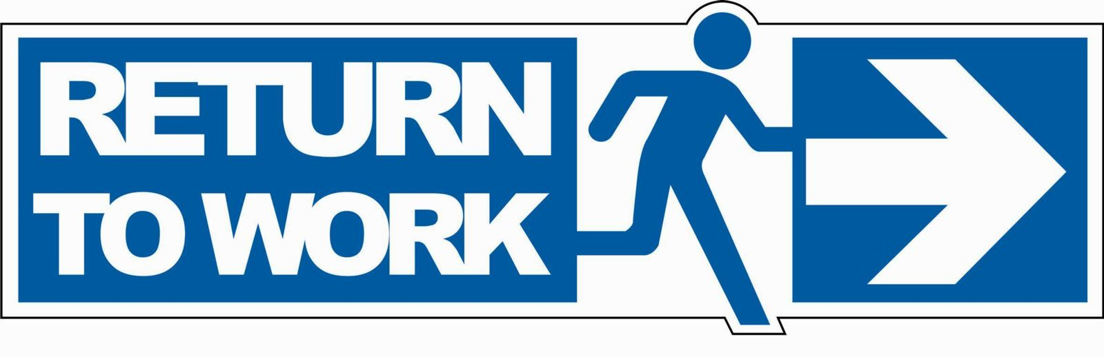 Blue return to work logo with stick figure running
