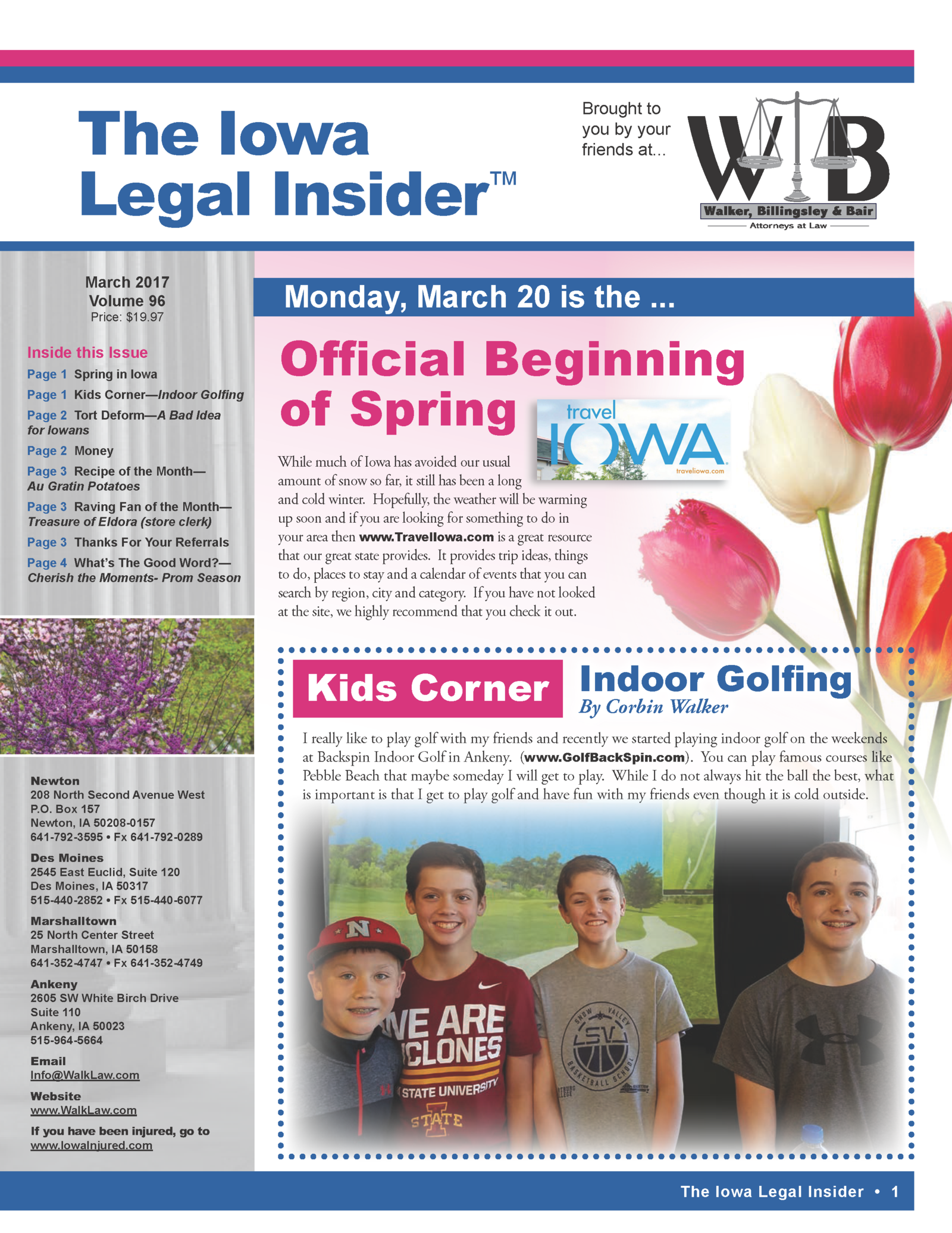 The Iowa Legal Insider Newsletter March 2017 Front page the beginning of spring