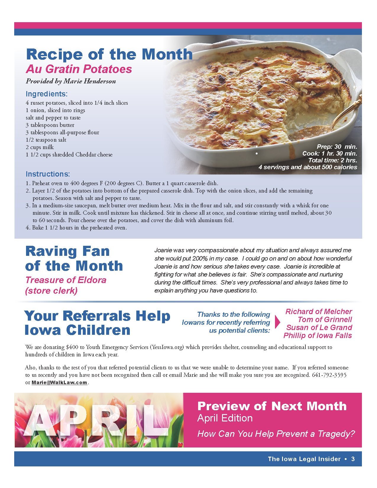 recipe of the month and reviews from clients