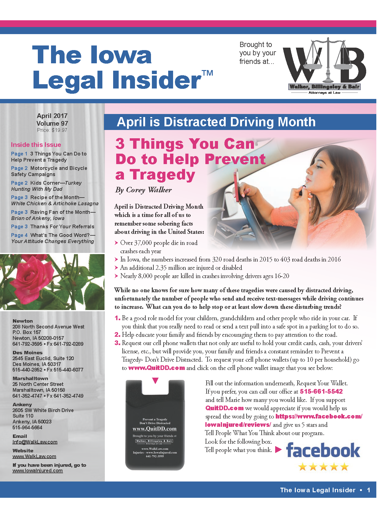 Distracted Driving awareness month issue of the iowa legal insider