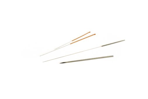 four acupuncture needles for alternative accident treatment