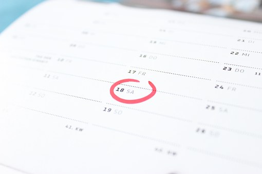 Calendar with the 18th circled in red