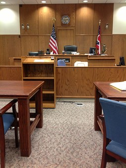 Court room prepped for a work injury case