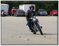 Motorcycle training course in parking lot