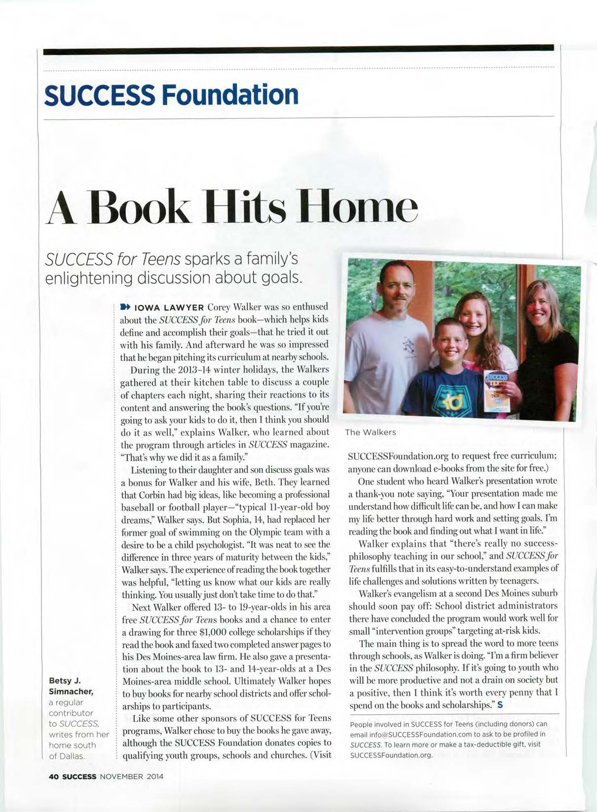 SUCCESS Magazine article featuring corey and beth walker
