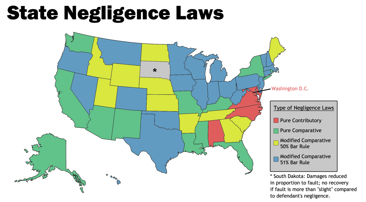 map of Georgia's comparative negligence laws compared to other states