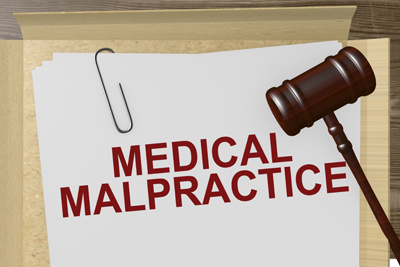 Medical Malpractice paper with gavel