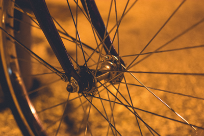 Spokes of a bicycle wheel