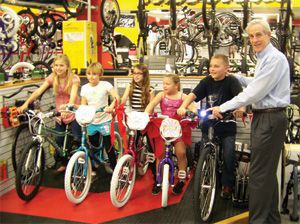 Bike Accident Attorney, Jim Dodson, with Kids in Bike Shop